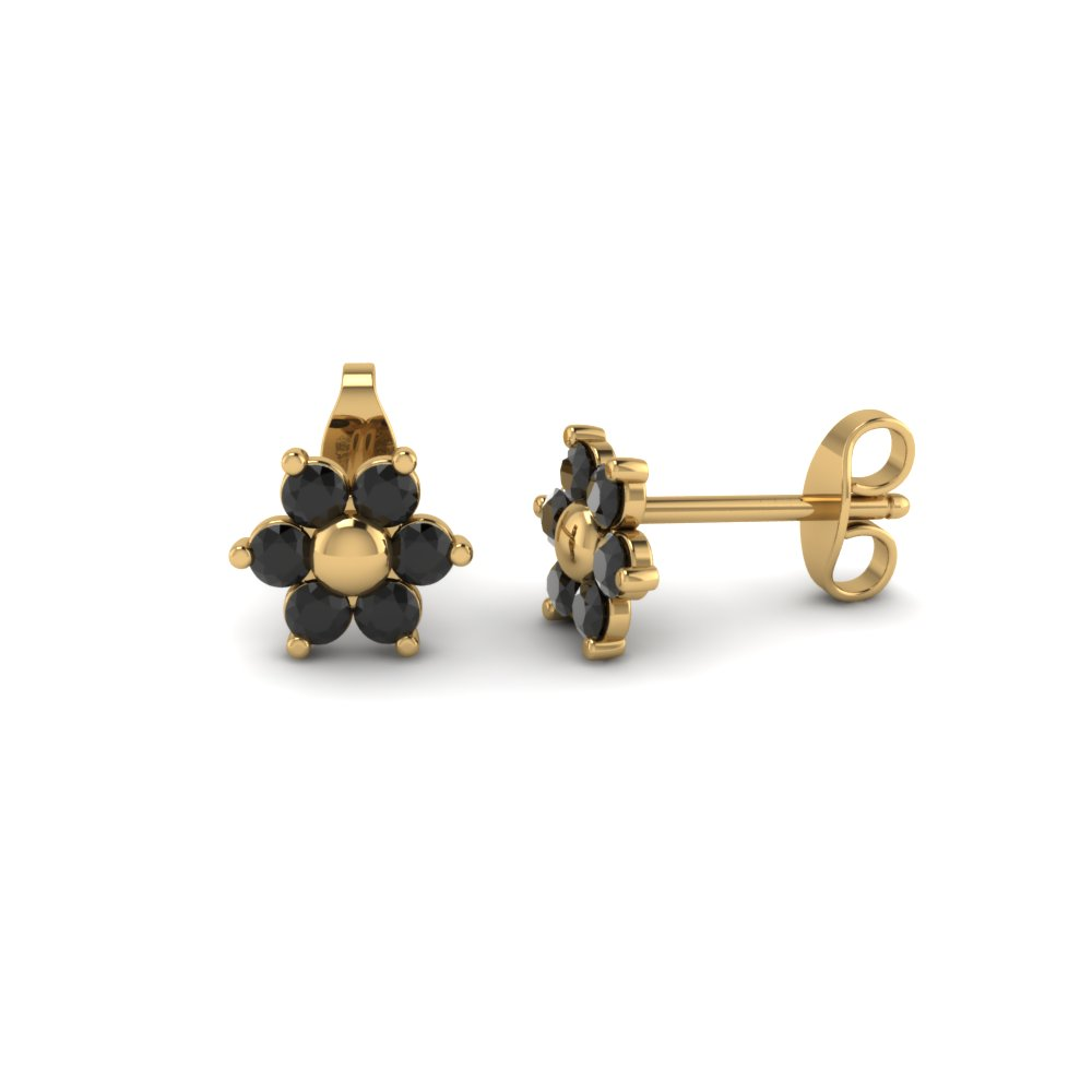 flower black diamond stud earring with screw back in FDEAR19253GBLACK Nl YG