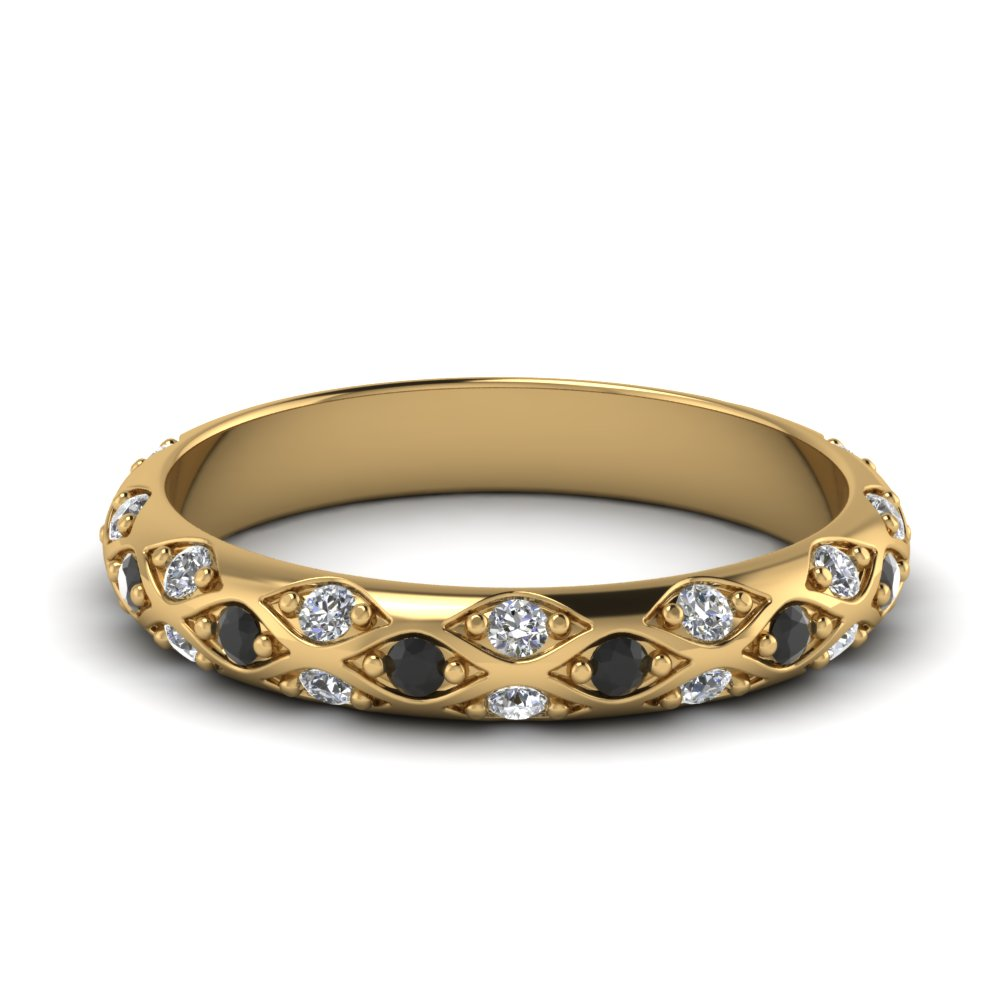 Yellow Gold Round Black Diamond Wedding Band With White Diamond In Pave Set