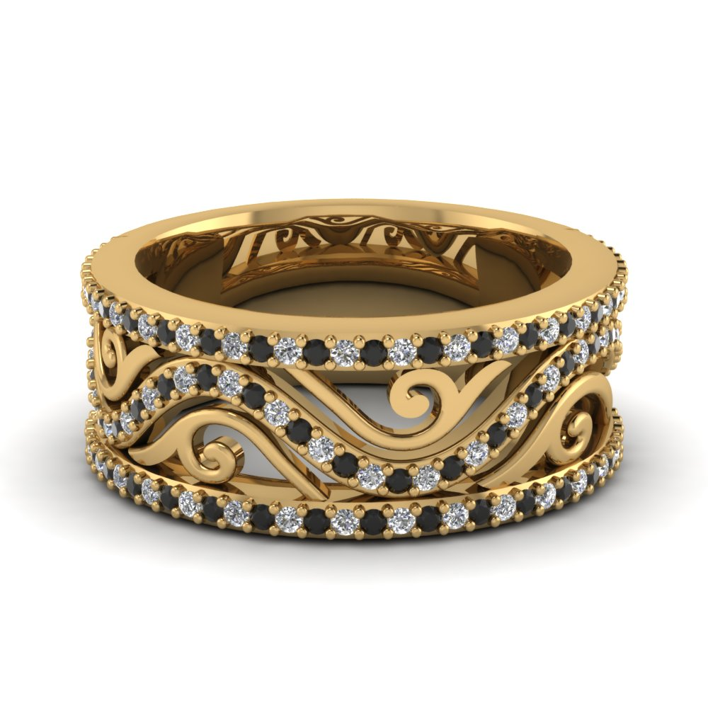 Filigree Wide Diamond Band