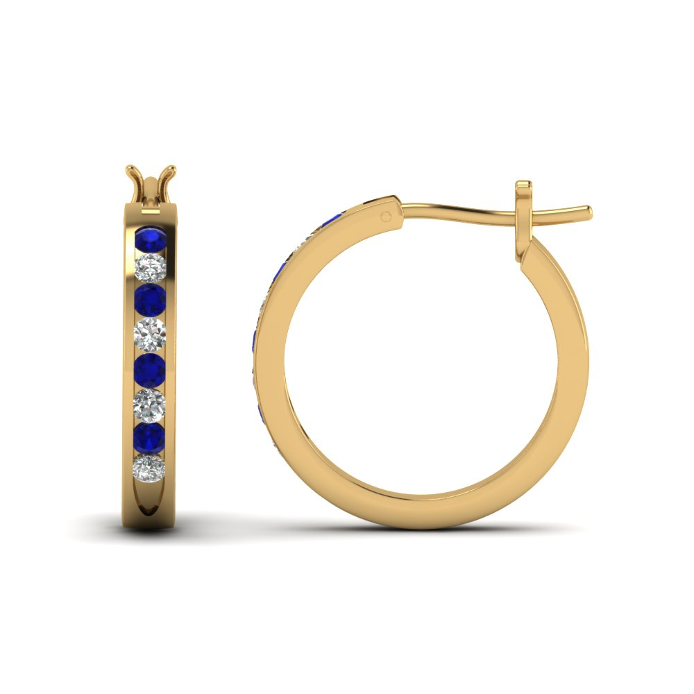 half carat diamond small hoop earring with sapphire in FDEAR3970GSABL NL YG