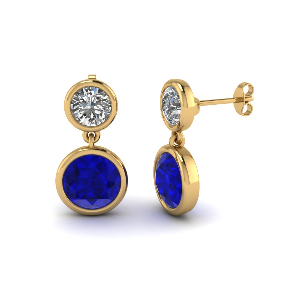Bezel Round Diamond Drop Earring With Shire In Fdear1082gsabl Nl Yg