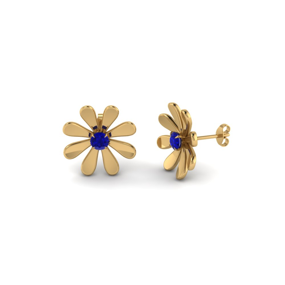 Fancy Flower Shire Stud Earring In Fdear1083gsabl Nl Yg