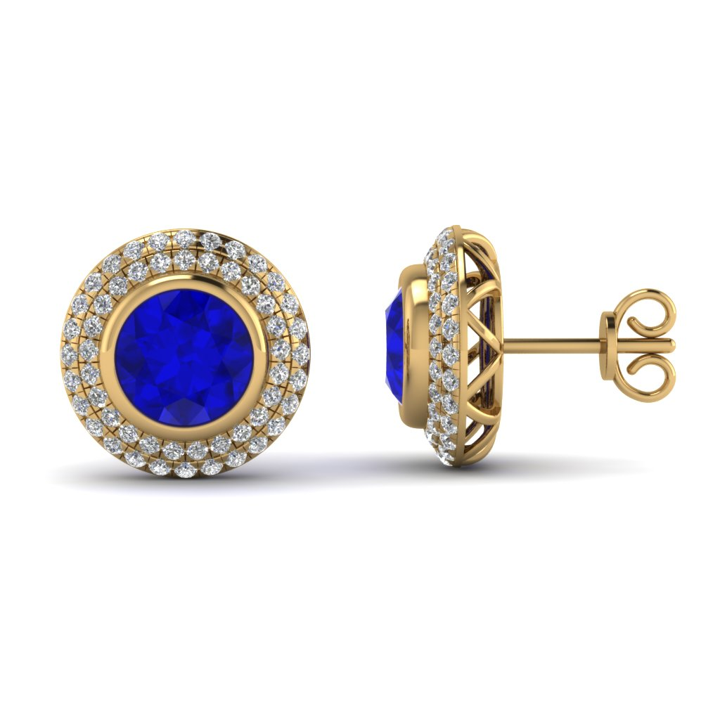 Angara Round Natural Sapphire and Diamond Studs in 14k White Gold 9KUxqcQ6mb