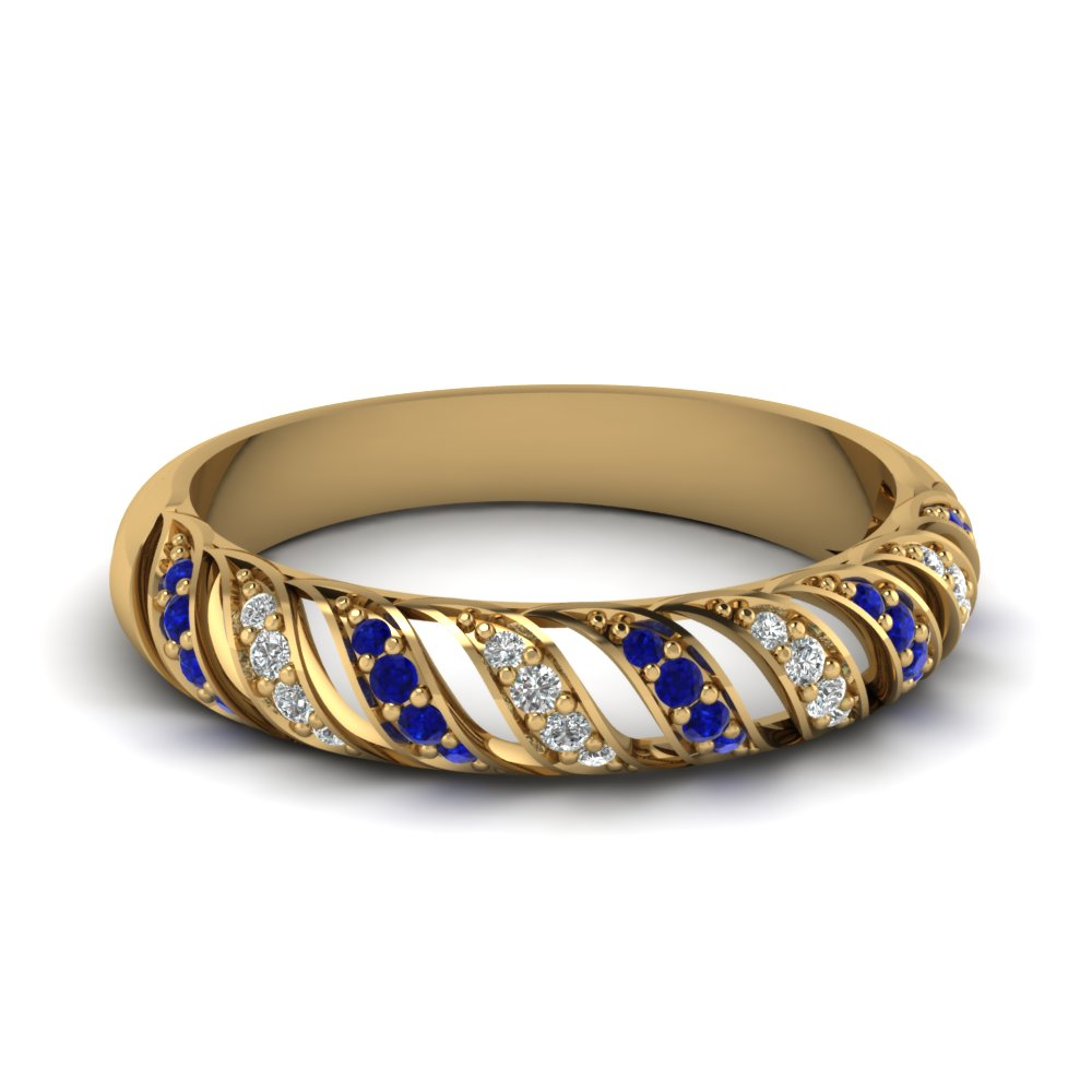 Rope Design Sapphire Wedding Band