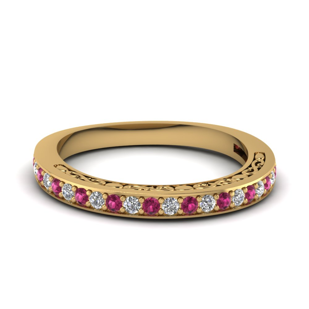 Delicate Filigree Pink Sapphire Band