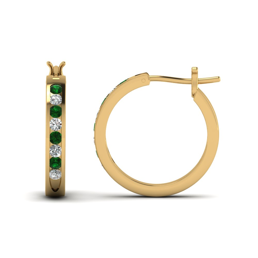 half carat diamond small hoop earring with emerald in FDEAR3970GEMGR NL YG