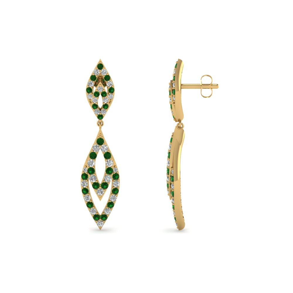 14k Emerald And Diamond Gold Drops