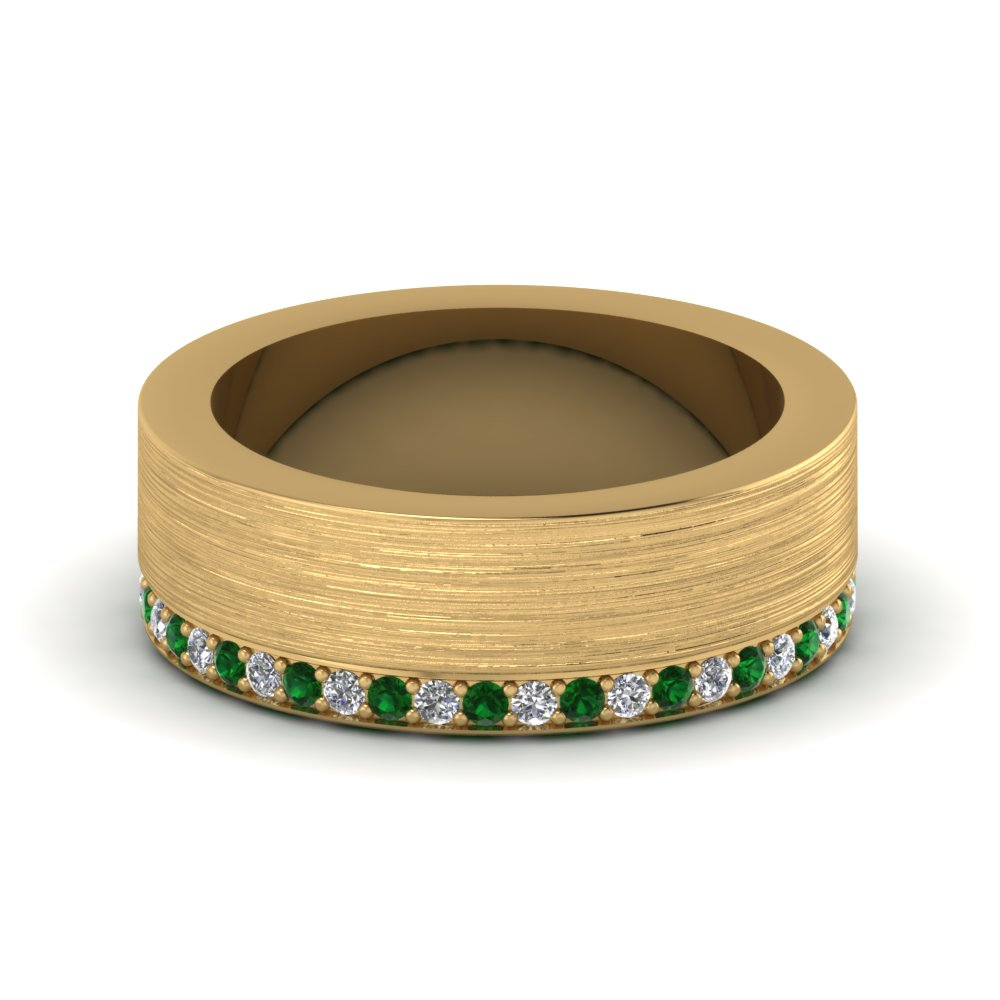 14k yellow gold green emerald men 39 s wedding band for Diamond mens wedding bands