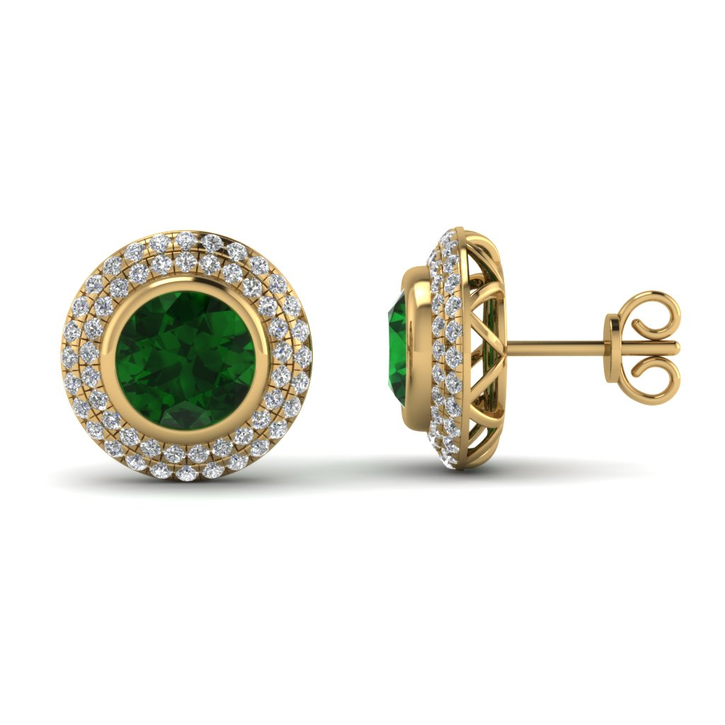Yellow Gold Round Green Emerald Stud Earrings With