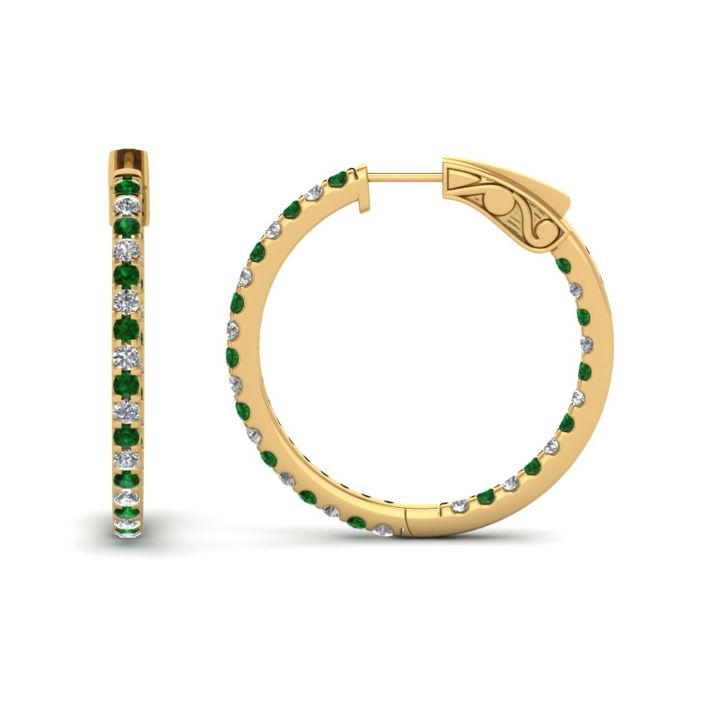 1 carat diamond in and out hoop earring with emerald in FDEAR650183GEMGR NL YG