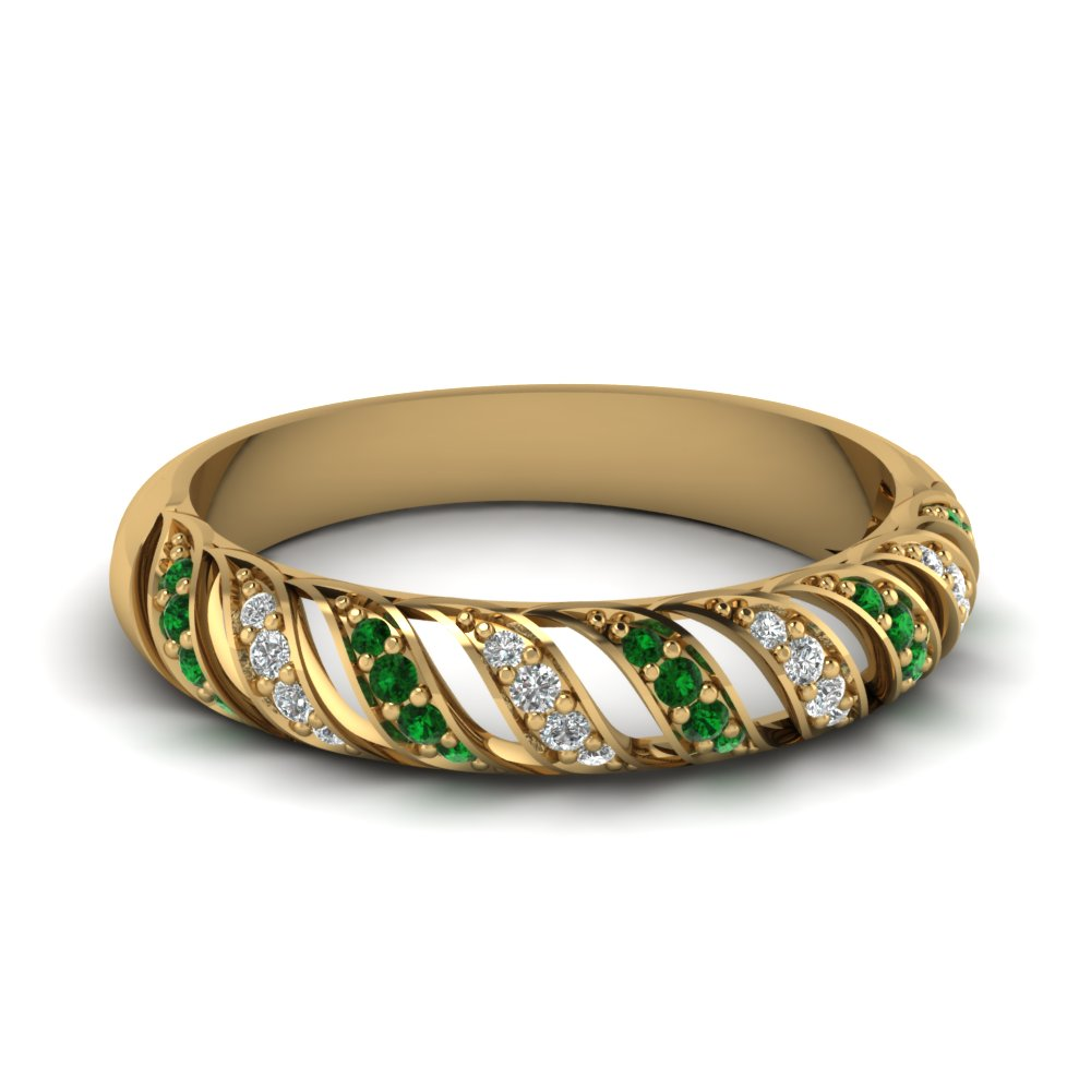 Emerald Rope Design Band