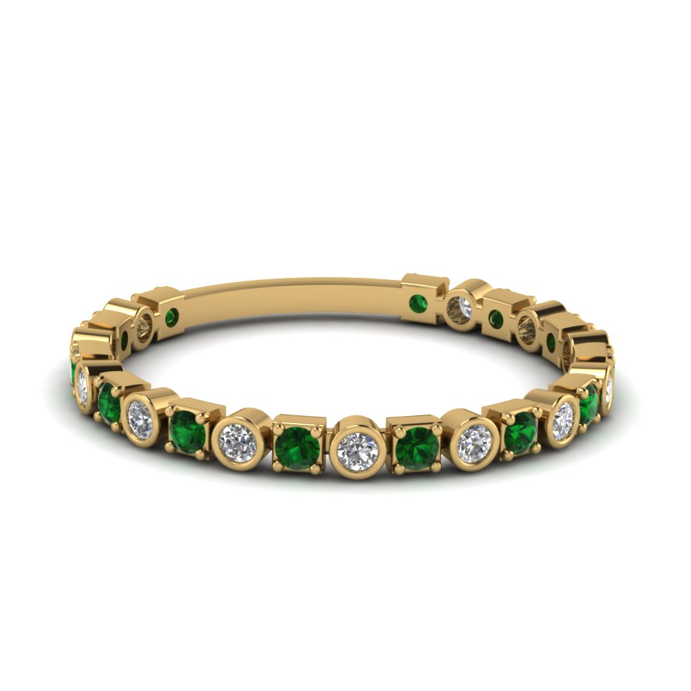 bezel and pave diamond wedding band with emerald in FD120583BGEMGR NL YG.jpg