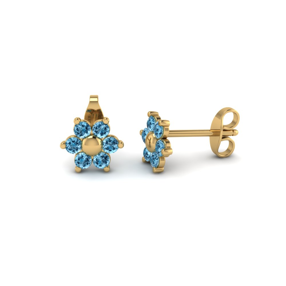 Flower Blue Topaz Stud Earring With Back In Fdear19253gicblto Nl Yg
