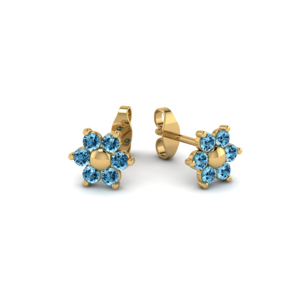 stud round blue topaz earrings gold