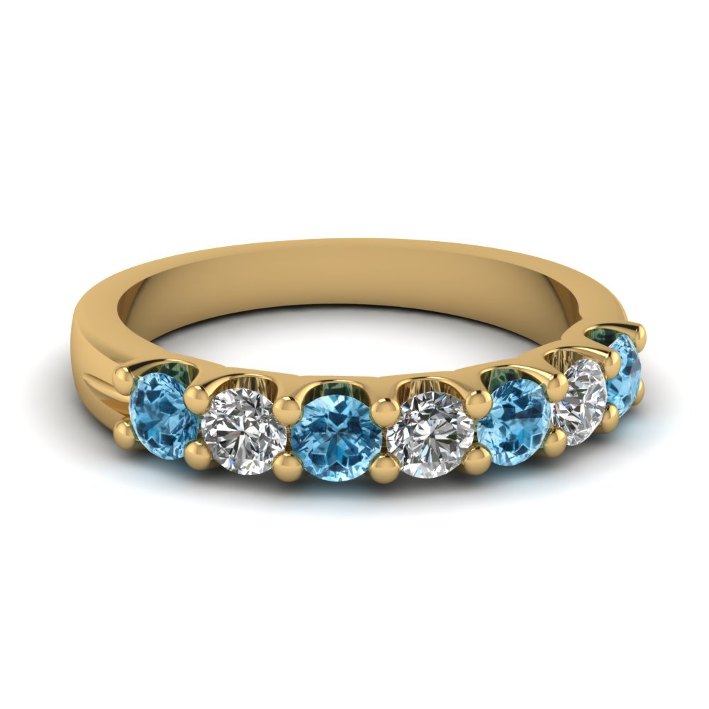 Blue Topaz 7 Stone Round Diamond Anniversary Band In 14K Yellow Gold