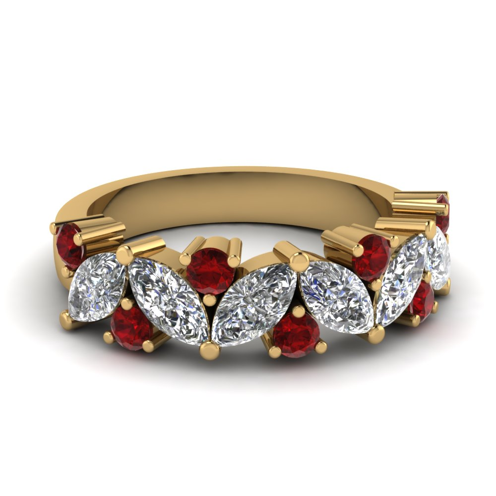 marquise diamond wedding ring with ruby in FDWB2308BGRUDR NL YG