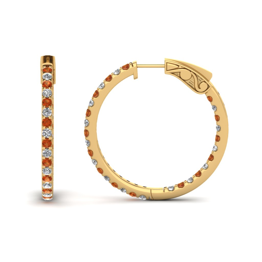 1 carat diamond in and out hoop earring with orange sapphire in FDEAR650183GSAOR NL YG