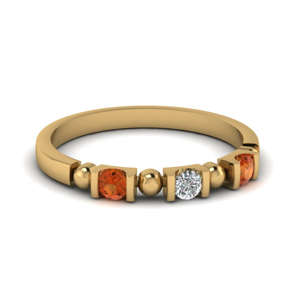 semi bezel 3 stone bead wedding band with orange sapphire in FDWB1408BGSAOR NL YG