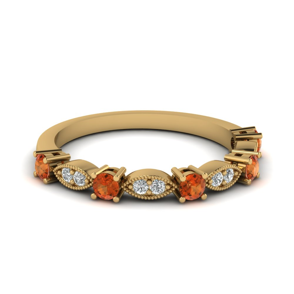 art deco round diamond wedding band with orange sapphire in FD68970BGSAOR NL YG
