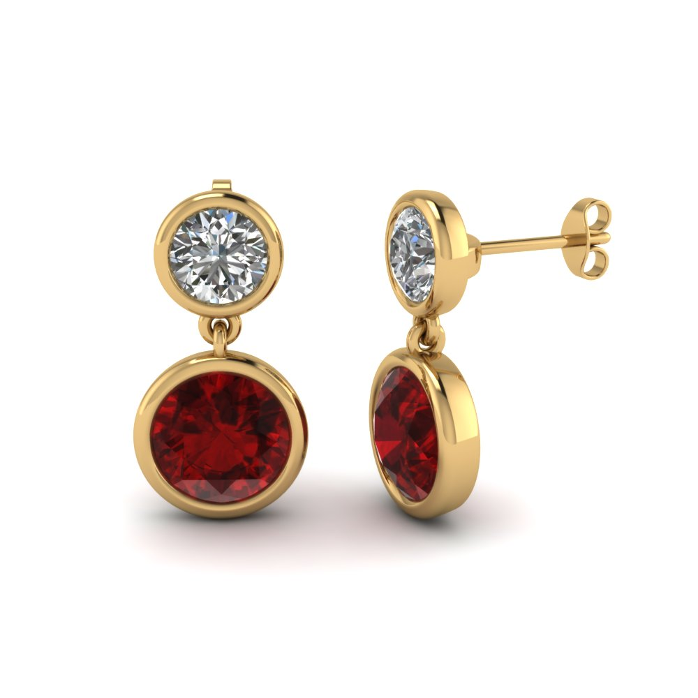 14k Yellow Gold Ruby Diamond Drops
