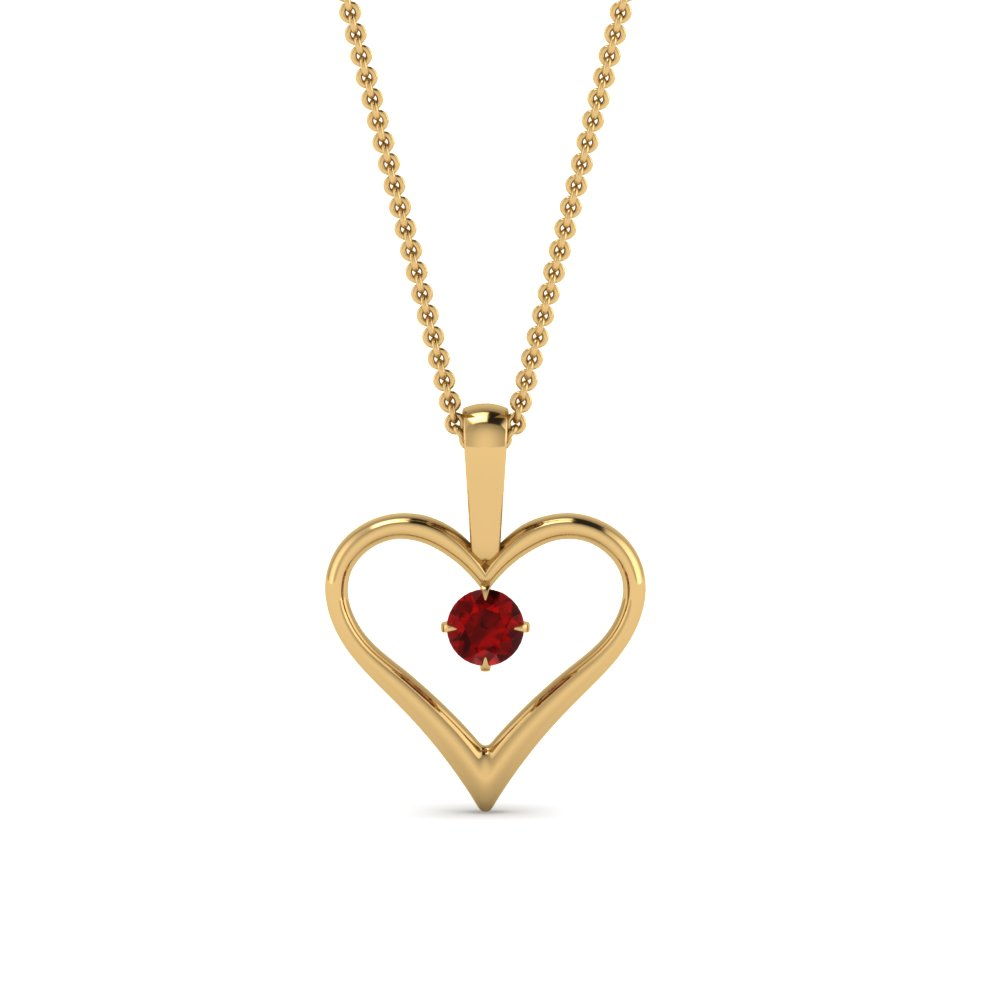open heart ruby solitaire drop pendant in FDPD60961GRUDR NL YG