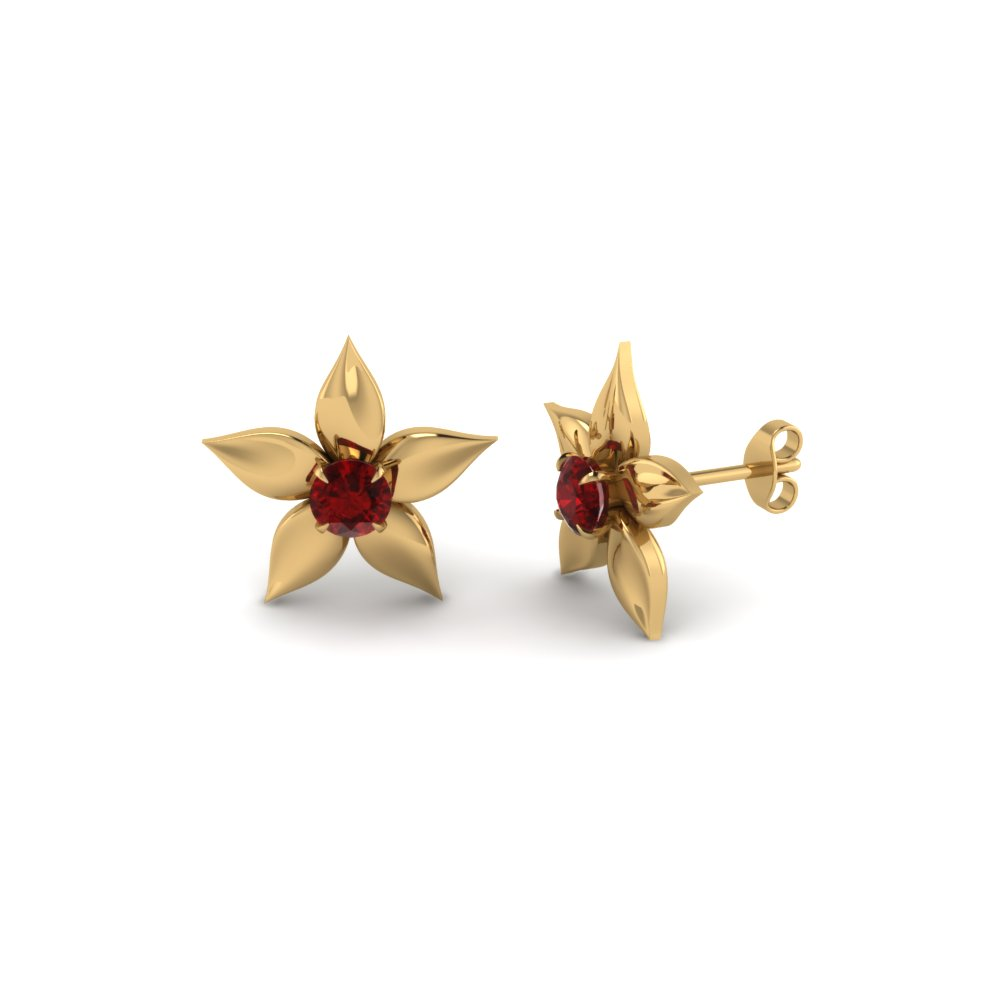 Flower Petal Ruby Stud Earring In Fdear1077grudr Nl Yg