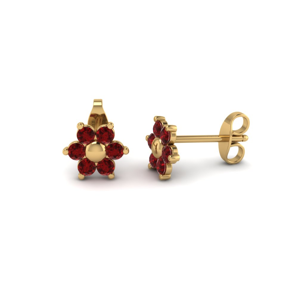 flower ruby stud earring with screw back in FDEAR19253GRUDR Nl YG