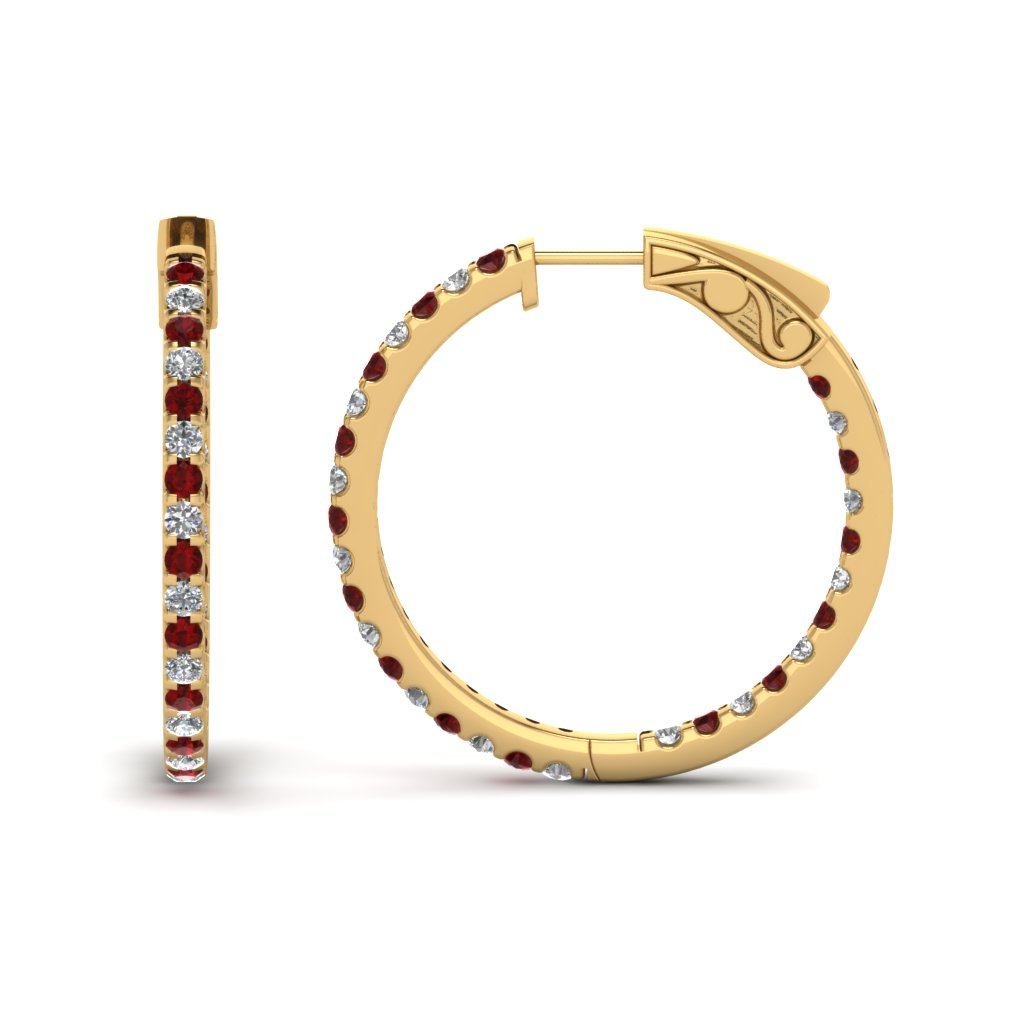 1 Carat Diamond In And Out Hoop Earring With Ruby Fdear650183grudr Nl Yg