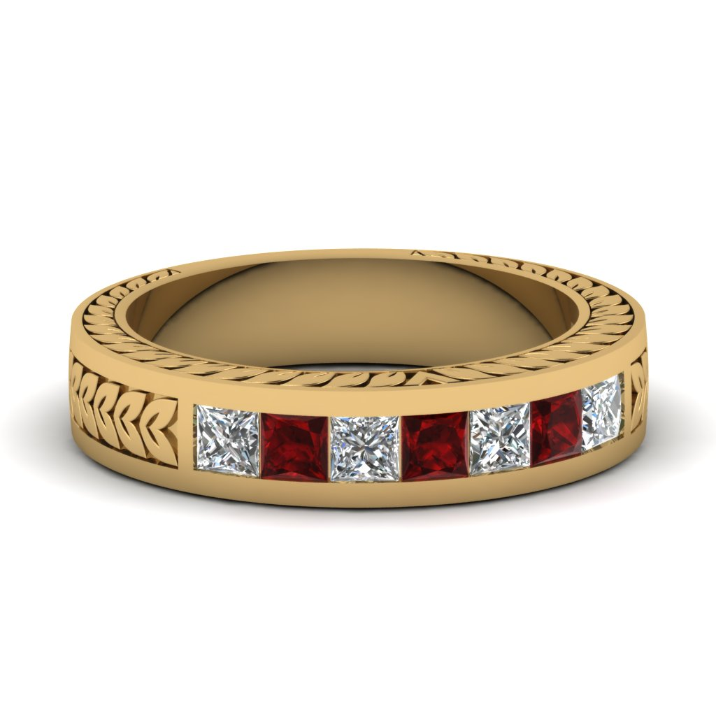 Hand Engraved Ruby And Diamond Wedding Band