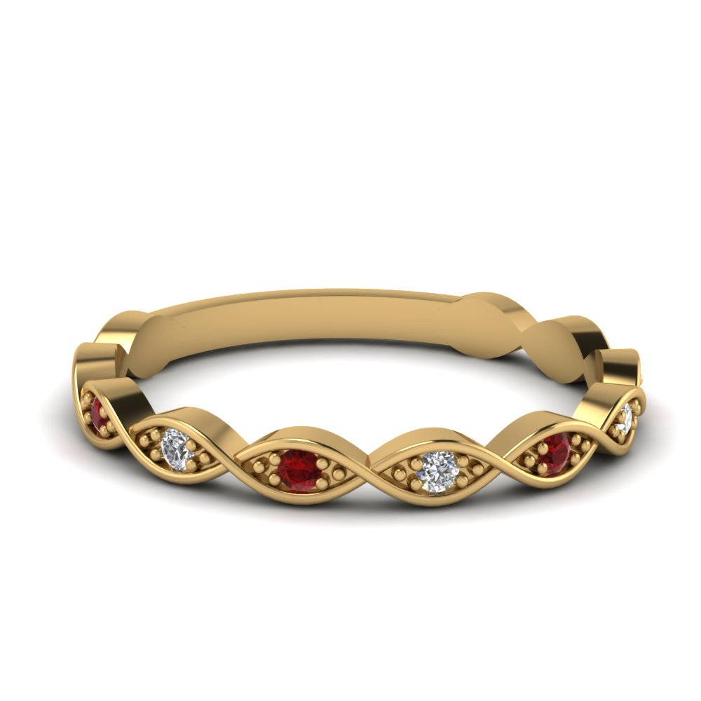 infinity diamond delicate band with ruby in FD121945BGRUDR NL YG