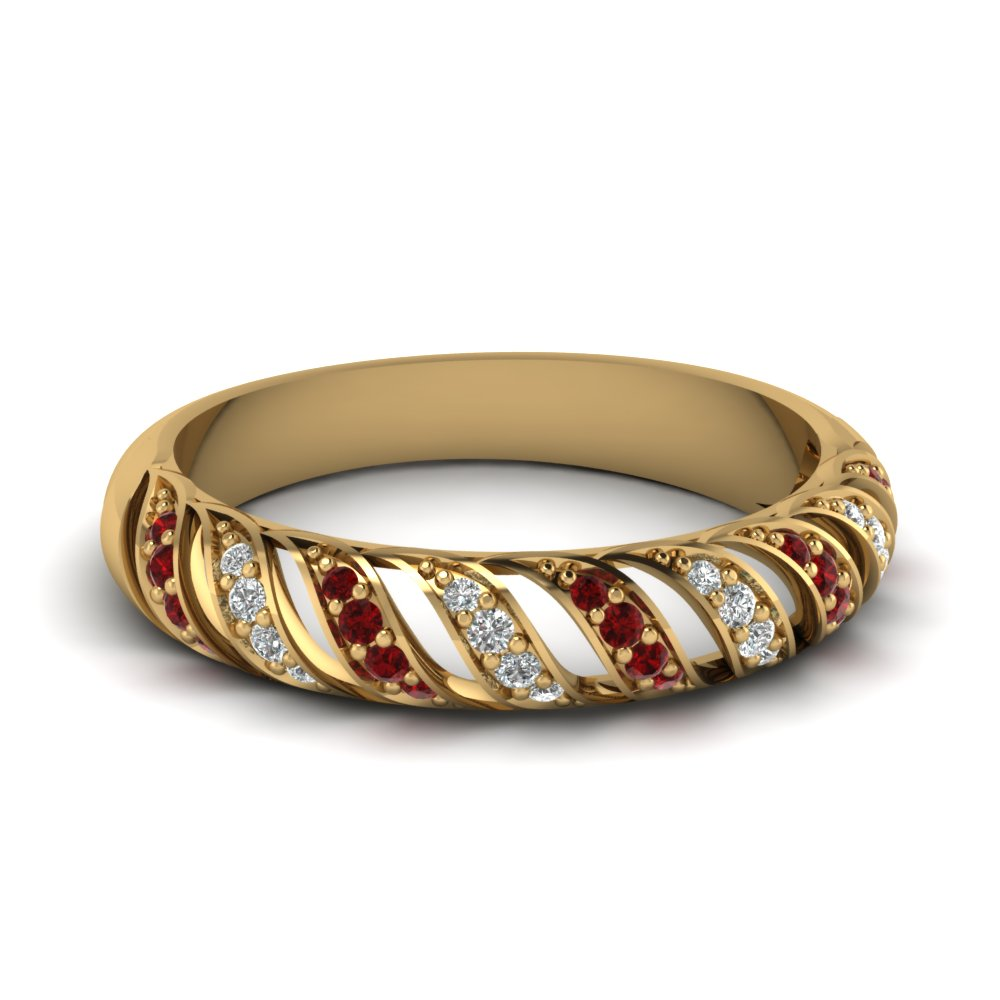 Ruby Wedding Band In Yellow Gold