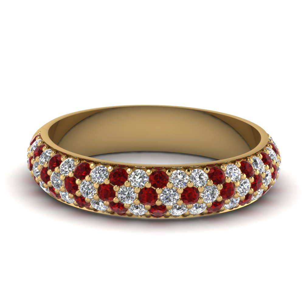 Micropave Ruby Wedding Band