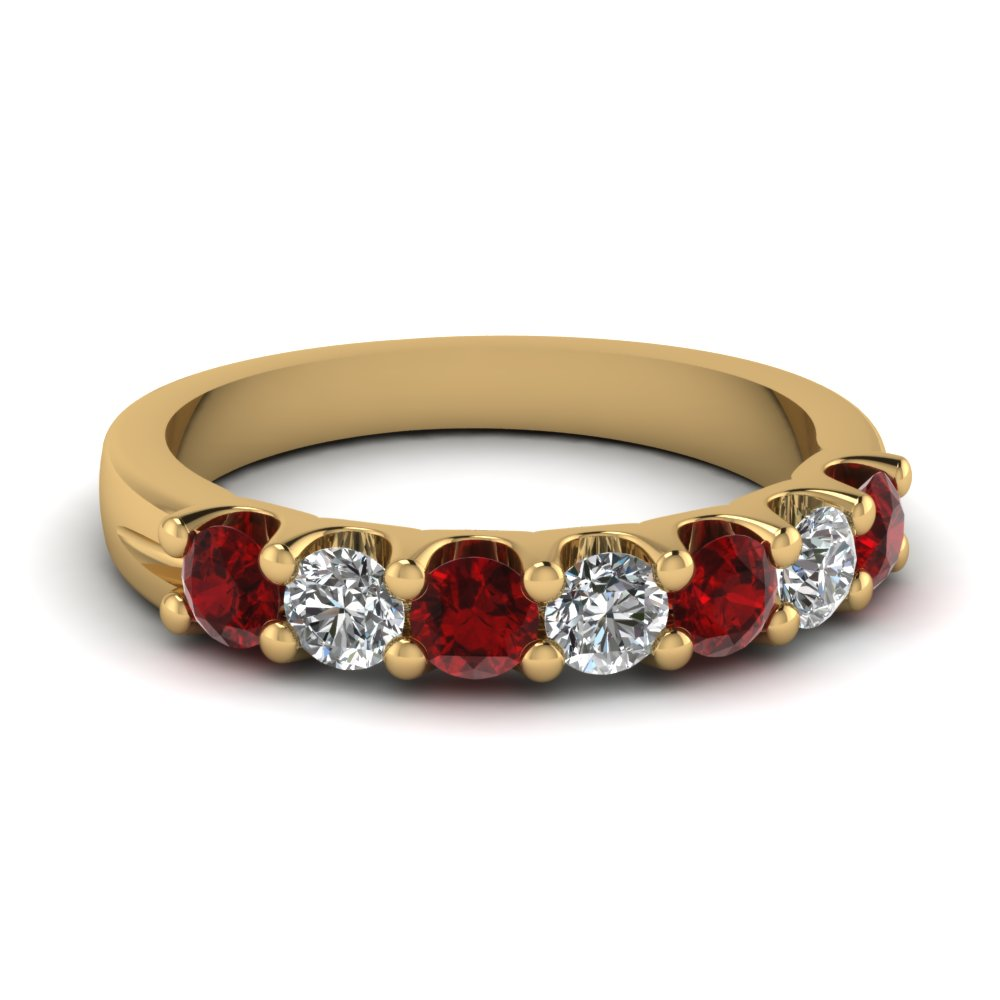 Alternate Set Diamond And Ruby Wedding Band For Women