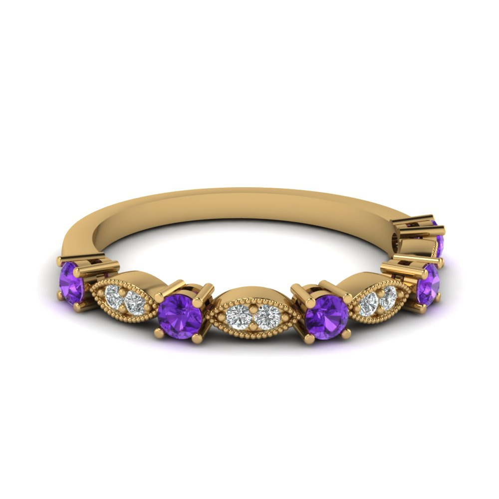 Purple Topaz Yellow Gold Band