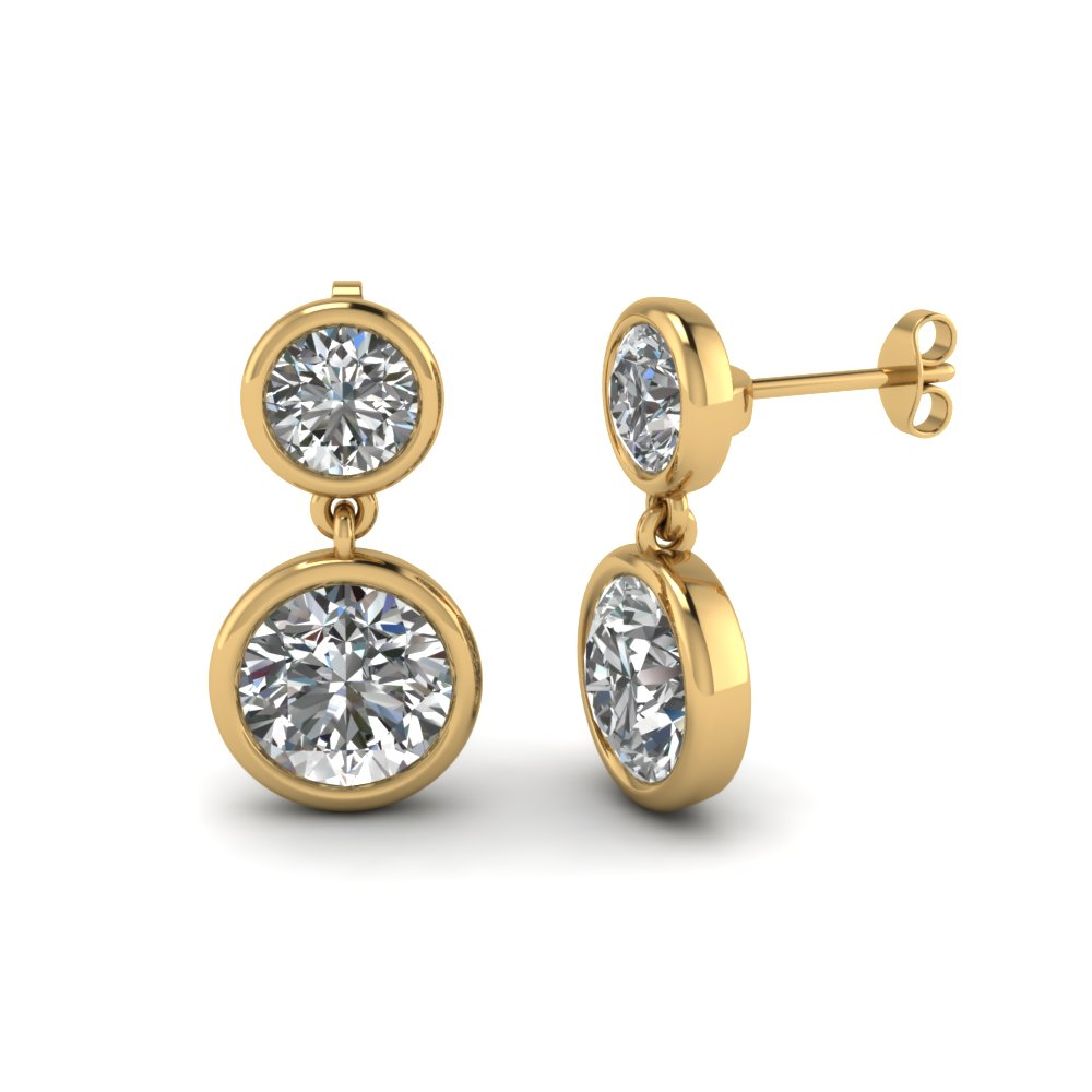 Bezel Round Diamond Drop Earring In Fdear1082 Nl Yg