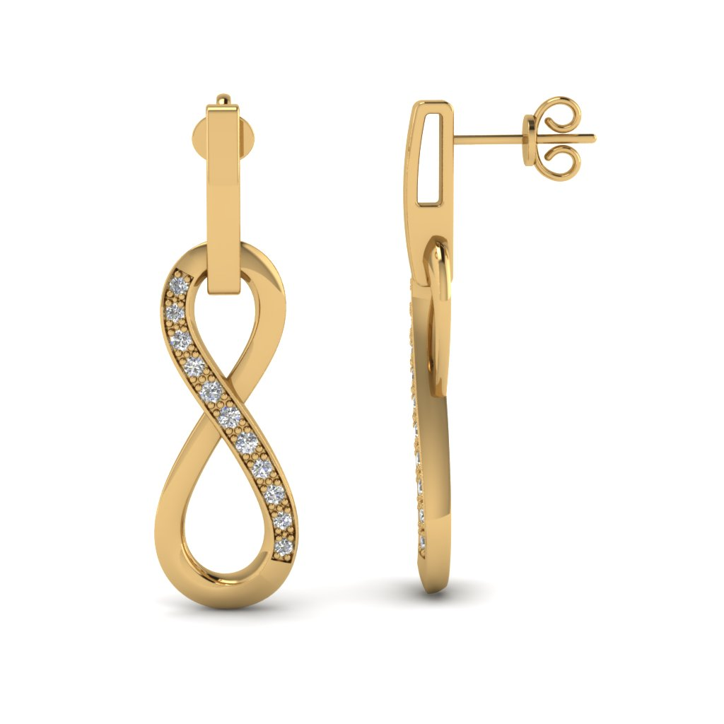 Yellow Gold Round White Diamond Drop Earrings In