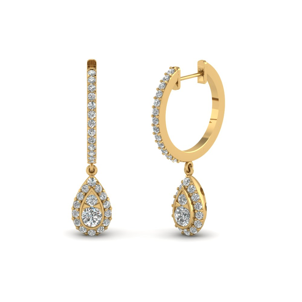 Pear Halo Drop Hoop Diamond Earring In 14K Yellow Gold  1a0d30b9a8
