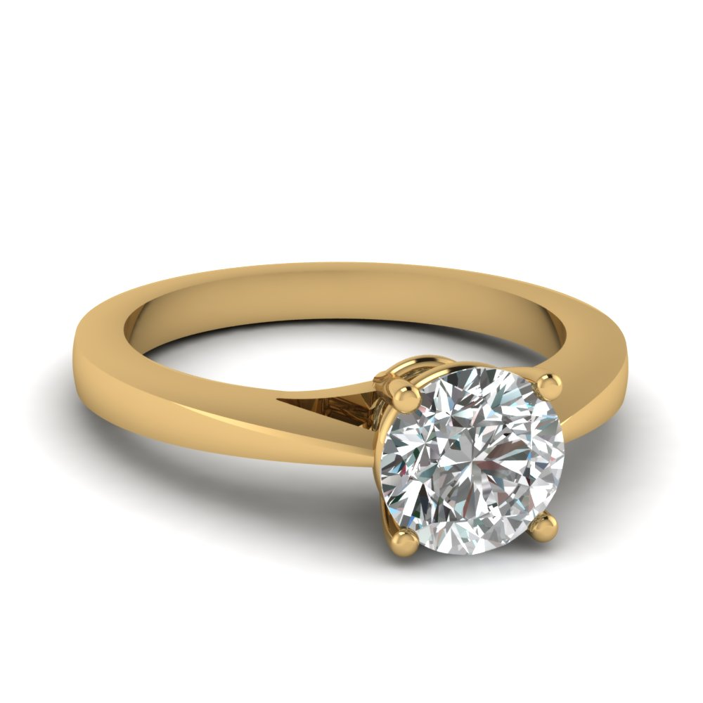 Petite Round Diamond Solitaire Engagement Ring In 14K ...
