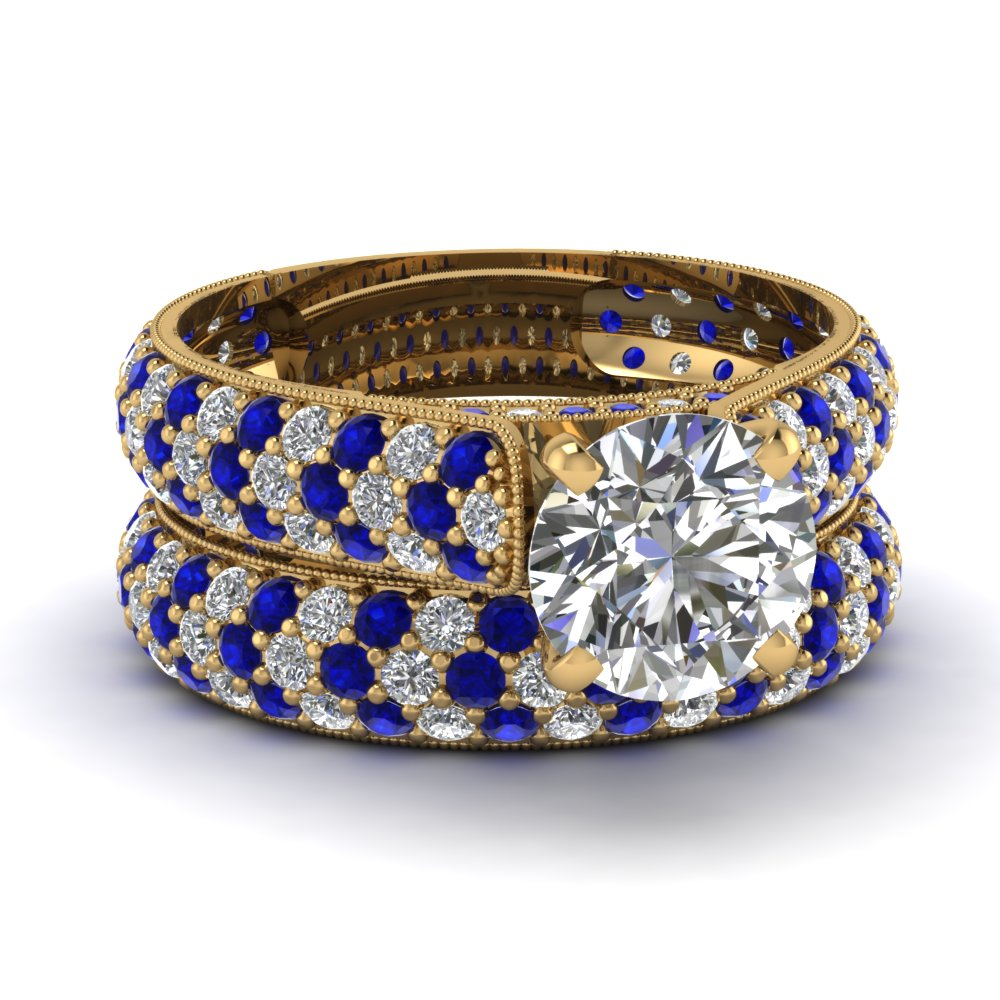 Yellow Gold Round White Diamond Engagement Wedding Ring Blue Sapphire In Pave