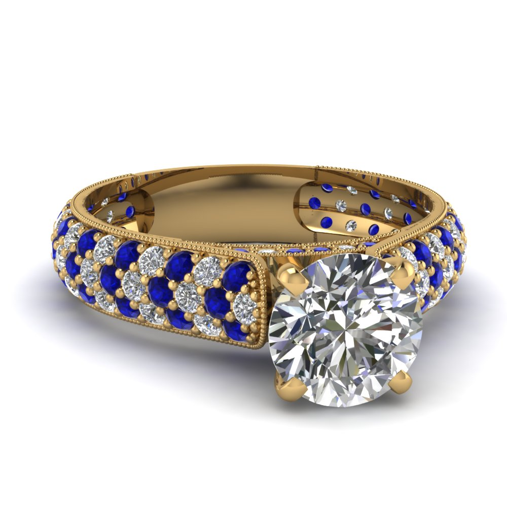 yellow gold round white diamond engagement wedding ring blue sapphire in pave set fascinating. Black Bedroom Furniture Sets. Home Design Ideas