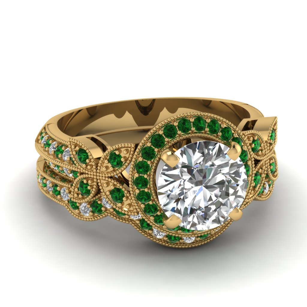 Yellow Gold Round White Diamond Engagement Wedding Ring Green