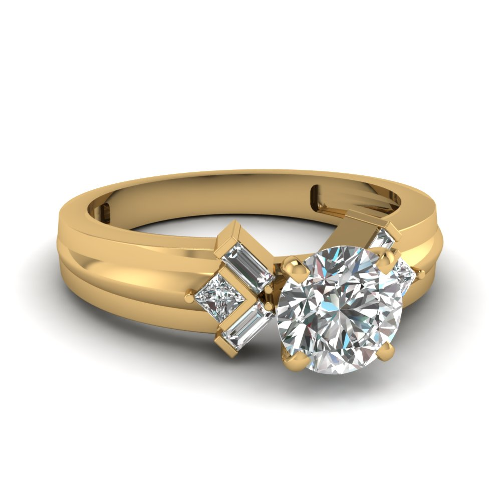 0.75 Karat Round Cut Engagement Rings