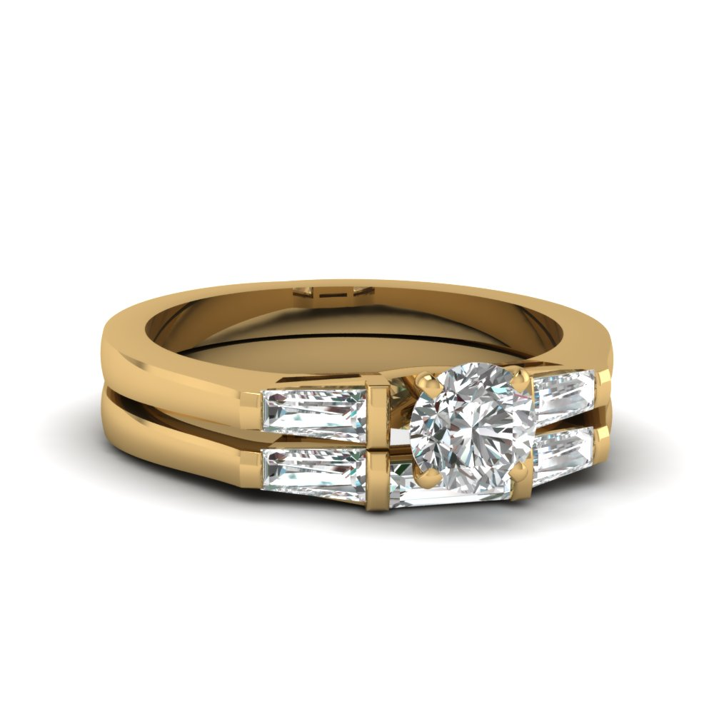 Yellow Gold Tapered Baguette And Diamond Bridal Set
