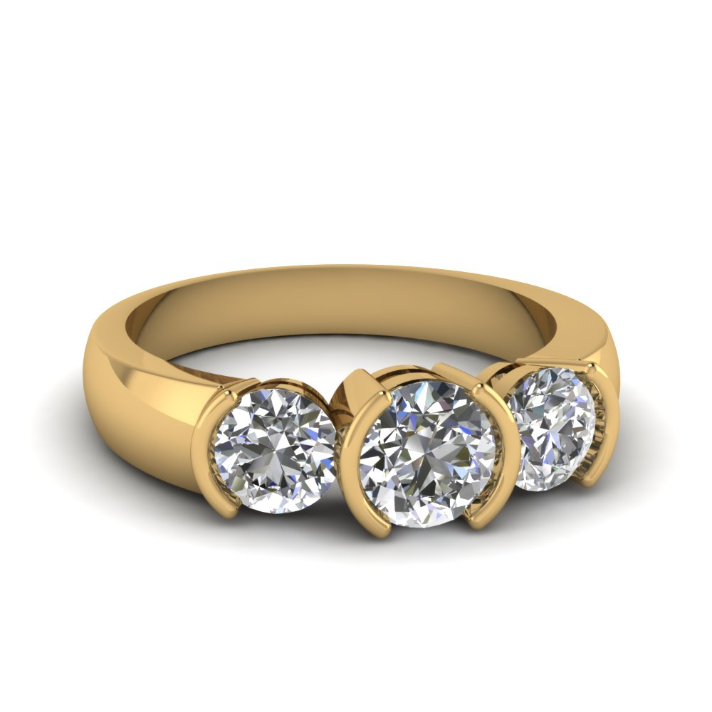14k Yellow Gold Round 3 Stone Engagement Rings