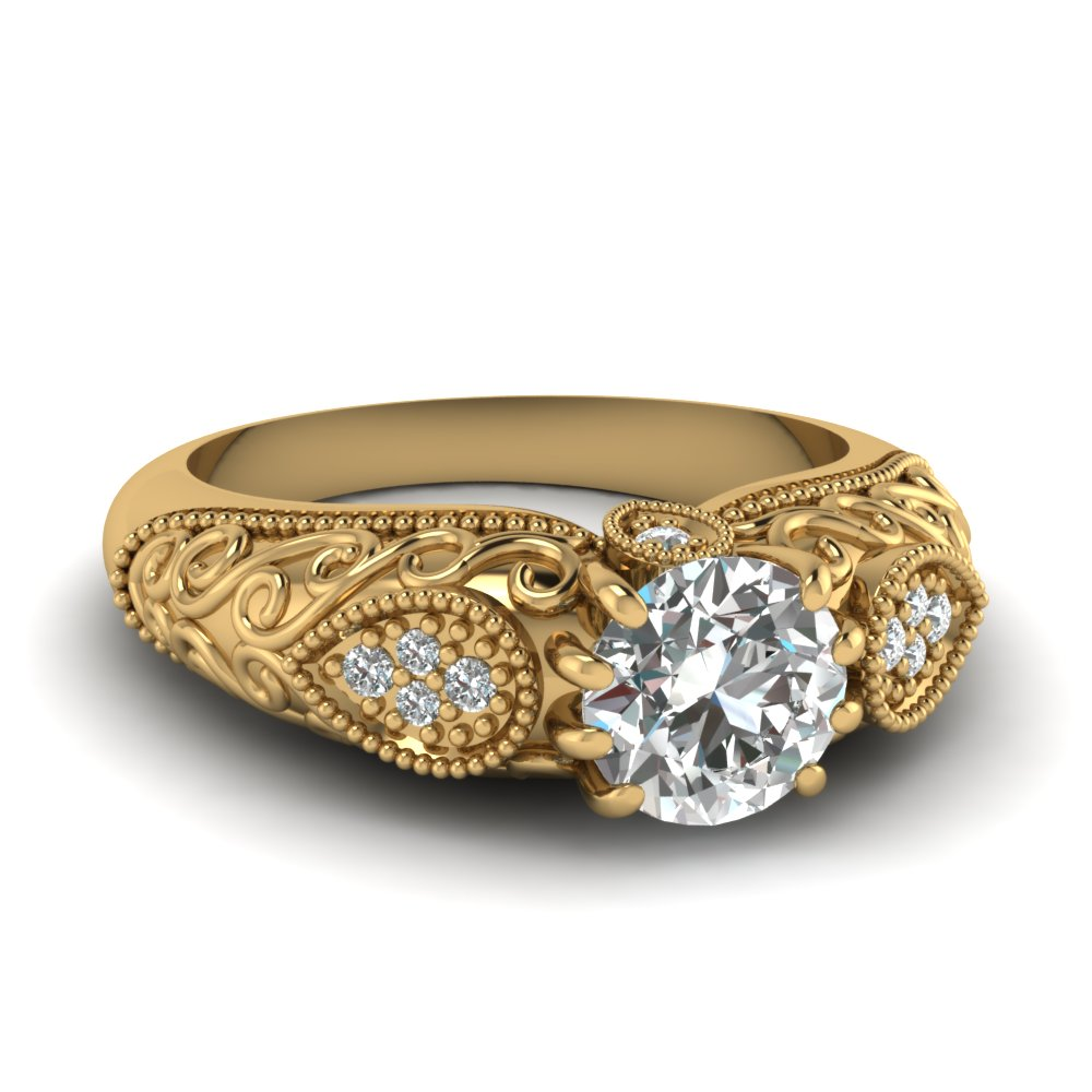 edwardian filigree diamond engagement ring in 14k yellow gold fascinating diamonds. Black Bedroom Furniture Sets. Home Design Ideas