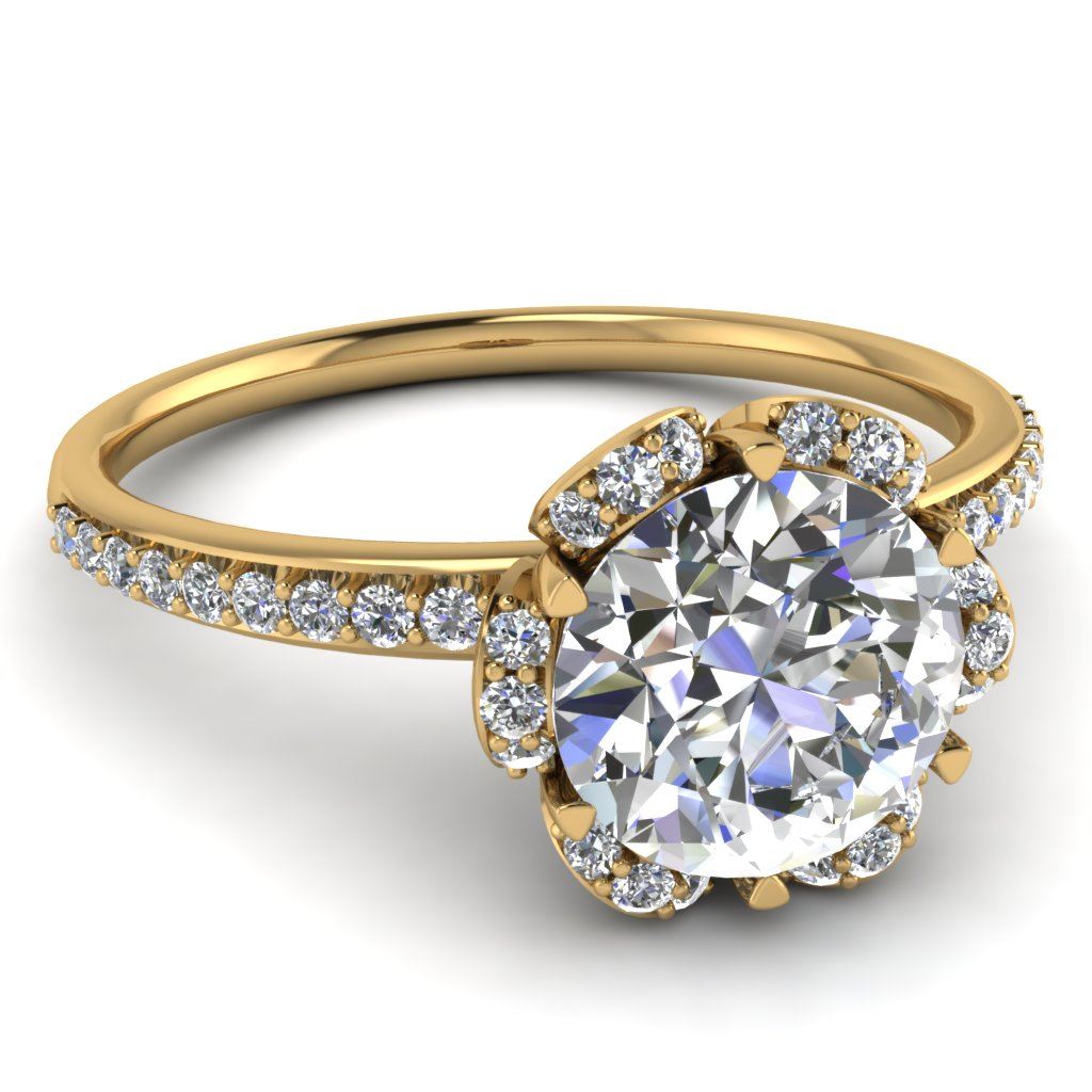 Delicate Petal Diamond Engagement Ring In 14K Yellow Gold ...