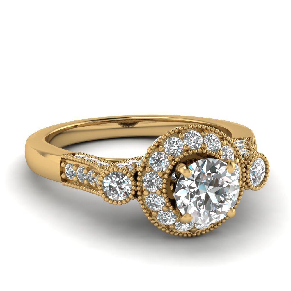 Gold Milgrain Halo Ring