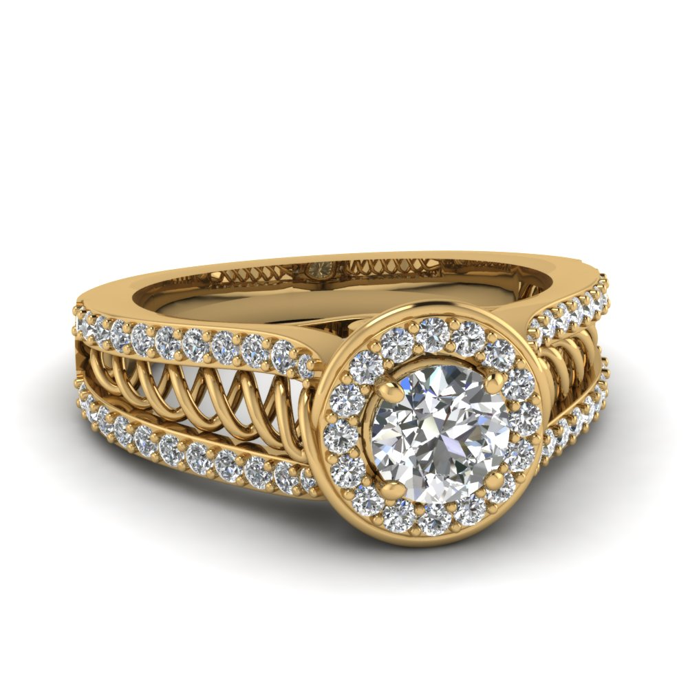 Split Band Spiral Halo Round Unique Diamond Engagement Ring in Yellow Gold