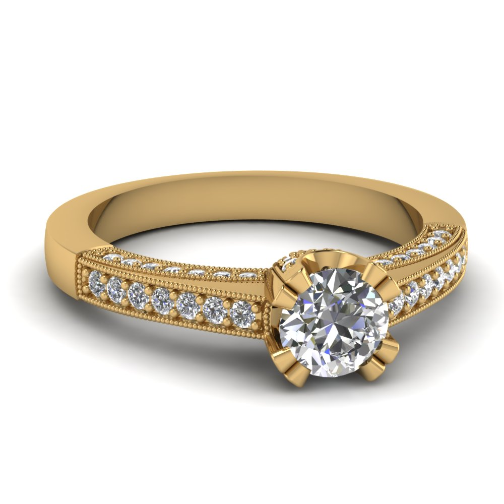 pave milgrain diamond engagement ring in 14k yellow gold. Black Bedroom Furniture Sets. Home Design Ideas