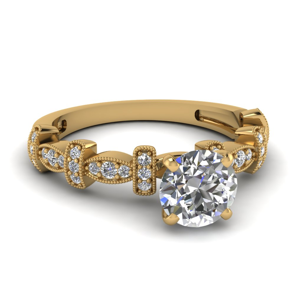 Milgrain Bordered Pave Set Diamond Petite Ring
